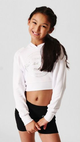 PINEAPPLE DANCEWEAR Girls Long Sleeved Crop Dance Hoodie White Silver Foil Logo